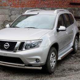 Пороги с площадкой D 60,3 для Nissan Terrano 2014-