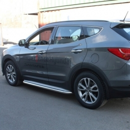 Пороги с площадкой D 60,3 для Hyundai Santa FE 2012-
