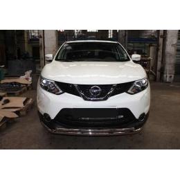 Защита переднего бампера Nissan Qashqai 2015 - двойная D 60,3/42,4 (сборка С-Пб)