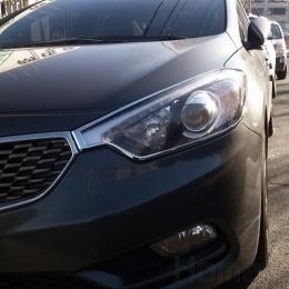 Накладки хромированные на передние фары для Kia Cerato (2013-)