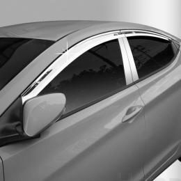 Дефлекторы боковых окон хром для Hyundai Elantra HD (2006 - 2011)