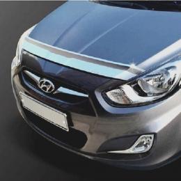 Дефлектор капота (хром) для Hyundai Solaris (2011-)