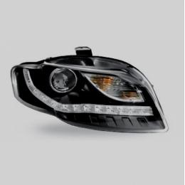 Передняя оптика для AUDI A4(2004-2007) с диодной полосой, с линзой внутри, чёрные