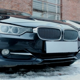 Защита радиатора BMW 3 F30/F31 2012- black PREMIUM  (2части)