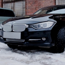 Защита радиатора BMW 3 F30/F31 2012- chrome  PREMIUM  (2части)