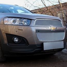 Защита радиатора Chevrolet Captiva 2013- рестайлинг (2 части) chrome PREMIUM