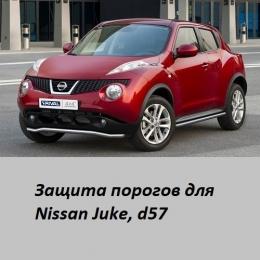 Защита порогов для Nissan Juke (d57)