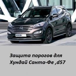 Защита порогов для Hyundai Santa Fe (d57)