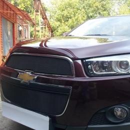 Защита радиатора для Chevrolet Captiva черная (2 части)