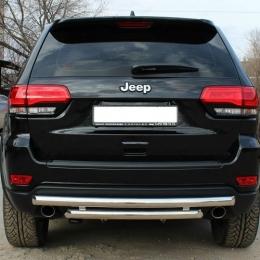 Защита заднего бампера для Jeep Grand Cherokee двойная (d57/d57) (2013-)
