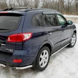 Защита заднего бампера для Hyundai Santa Fe уголки (d57)