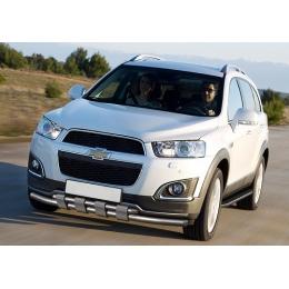 Защита переднего бампера для Chevrolet Captiva клыки d57/d42 (2014-)